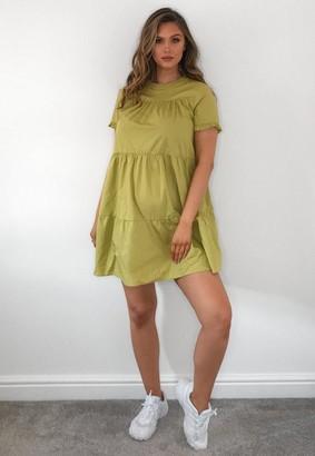 Missguided Olive Poplin Smock Maternity Mini Dress