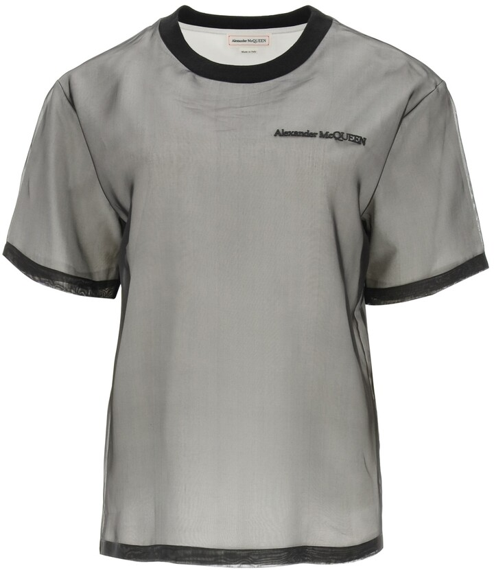 Thumbnail for your product : Alexander McQueen SIGNATURE T-SHIRT WITH SILK ORGANZA 38 Black, White Cotton, Silk
