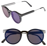 Spitfire Women's Post Punk 48Mm Round Mirrored Lens Sunglasses - Black/ Blue Mirror