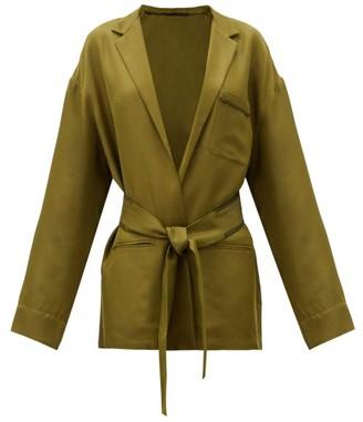 Haider Ackermann Belted-waist Twill Jacket - Khaki Multi