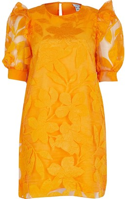 River Island Orange Floral Organza Ss Dress