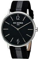 Ben Sherman Men's 'Portobello Stripe' Quartz Stainless Steel and Leather Watch, Multi Color (Model: WB044BA)