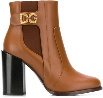 Dolce & Gabbana motif ankle boots