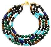 Nest Malachite, Turquoise, Lapis & Horn Collar Necklace