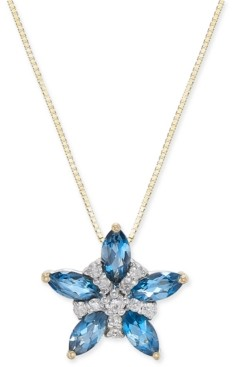 "Macy's London Blue Topaz (1 ct. t.w.) & Diamond (1/10 ct. t.w.) 18"" Pendant Necklace in 14k Gold"