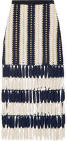 Self-Portrait Striped Crochet-knit Midi Skirt - Navy