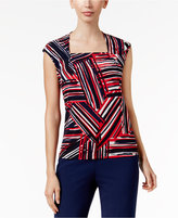 Kasper Printed Square-Neck Shell