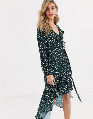 Lipsy wrap polka dot dress in green