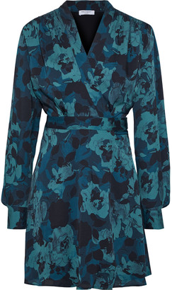 Equipment Allaire Shirred Printed Washed-crepe Mini Wrap Dress