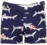 John Lewis Boys' Shark Print Swimming Trunks, Navy