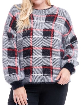 Fever Plus Size Plaid Fuzzy Sweater