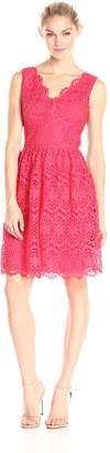 Adrianna Papell Women's Petite V-Neck Sleeveless Fit and Flare Dress