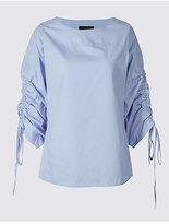 M&S Collection Pure Cotton Slash Neck Ruched Sleeve Blouse
