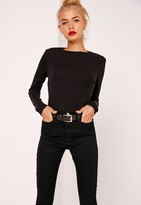 Missguided Petite Crew Neck Ribbed Long Sleeved Top Black