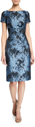Zac Posen Boat-Neck Floral-Jacquard Sheath Dress