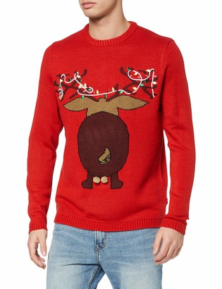 ONLY & SONS Men's onsXMAS 7 Funny Badge Jaquard Knit Sweater