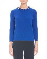 Carolina Herrera Knit Cashmere Sweater w/Embellished Collar, Cobalt