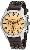 Fossil Pilot 54 FS5178 Men's Brown Leather and Stainless Steel Chronograph Watch