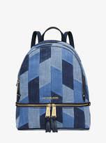 Michael Kors Rhea Medium Mosaic Patchwork Denim Backpack