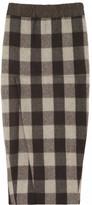Rick Owens Plaid wool-blend midi skirt