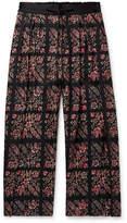 Sasquatchfabrix. Pleated Floral-Print Wool-Twill Drawstring Wide-Leg Trousers