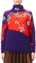 DELPOZO Bicolor Knit Turtleneck Sweater, Velvet Purple