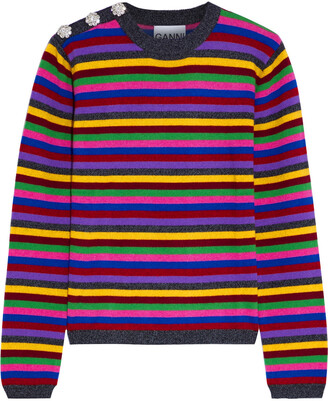Ganni Button-embellished Striped Cashmere Sweater