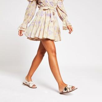 River Island Womens Purple floral printed mini skirt