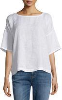 Eileen Fisher Short-Sleeve Linen Boxy Top, Petite
