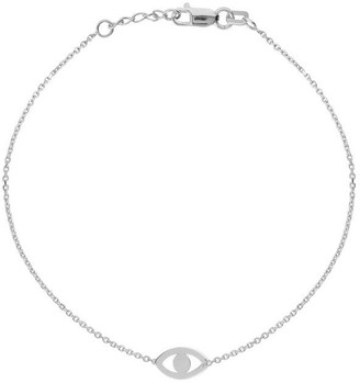 Curata 14k White Gold Adjustable Cut Out Evil Eye Bracelet With Spring Ring Closure - 7.50 Inch