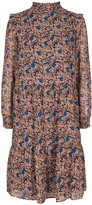 Couture Co' Midi Navy/ Orange Floral Valentina Long Sleeve Dress - xsmall