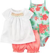 Carter's 3-pc. Flutter-Sleeve Dress and Bodysuit Set - Baby Girls newborn-24m