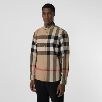Burberry Check Stretch Cotton Popin Shirt