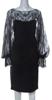 Marchesa Notte Black Silk Sheer Lace Yoke Detail Shift Dress L