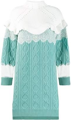 Fendi high collar knitted dress