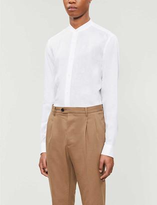 HUGO BOSS Slim-fit stand collar linen shirt