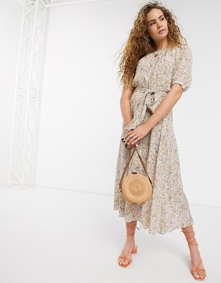 And other stories & meadow floral belted smock dress in multi