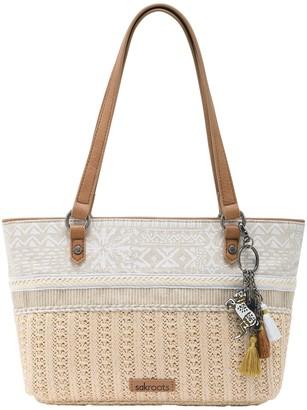 The Sak Sakroots Ellis Straw Small Satchel Handbag withKeychain