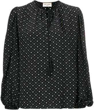 Saint Laurent Heart Print Lace Up Blouse