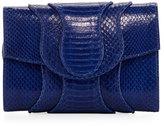 Khirma Eliazov Jolie Snakeskin Flap Clutch Bag, Blue