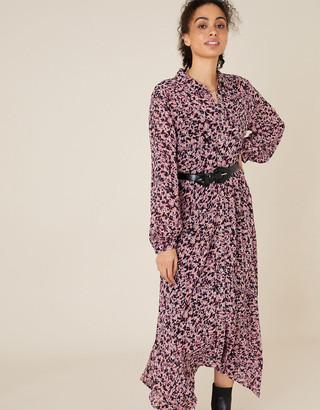 Monsoon Floral Hanky Hem Shirt Dress Pink