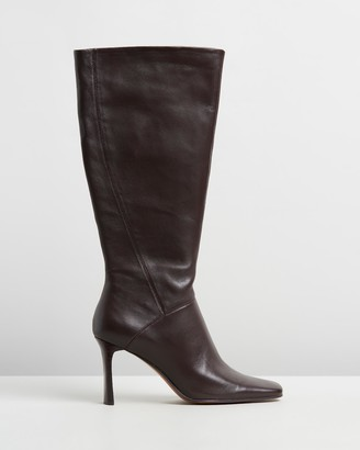 Mng Leather High-Leg Boots