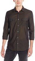 Calvin Klein Men's Long Sleeve Double Pocket Solid Button Down Shirt