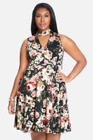 Fashion to Figure Garden Floral Print Keyhole Dress