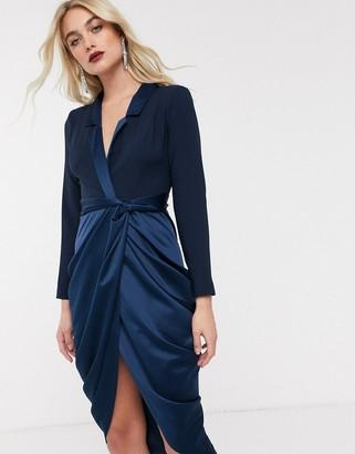 ASOS DESIGN satin drape tux midi dress