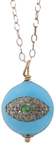 Ileana Makri IaM by Turquoise & Diamonds Enamel Eye Pendant Necklace