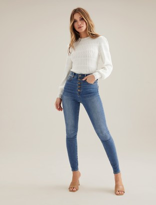 Forever New Heidi High-Rise Ankle Grazer Jeans - San Jose Blue - 10