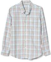 Plaid poplin button-down shirt