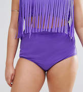 Monif C Purple High Waist Bikini Bottom