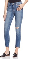 Frame High Skinny Raw Stagger Jeans in Forest